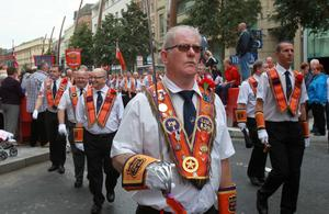 12/7/11 Mandatory Credit Darren Kidd/Presseye.com Orangemen take part in Twelfth of July parades as they make their way to the field at Shaws Bridge, Belfast.The parade makes its way Royal Av , LOL39