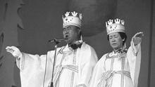 Rev. Sun Myung Moon, left, and his wife Hak Ja Han, are shown during the traditional invocation of a blessing at a mass wedding in Seoul's Chamsil gymnasium where 6,000 couples from about 80 countries were married. Moon, self-proclaimed messiah who founded Unification Church, died at age 92 Monday, Sept. 3, 2012