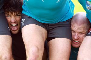 Donncha O'Callaghan (left) and Paul O'Connell put their heads where others wouldn't dare during Ireland's training session in Auckland yesterday