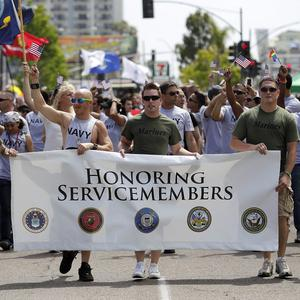 Members of the military march in the Gay Pride Parade in San Diego (AP/Gregory Bull)