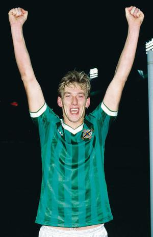 Alan McDonald celebrates the 0-0 draw with England which sent Northern Ireland to the World Cup in 1986