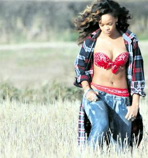 Rihanna in a field outside Bangor yesterday