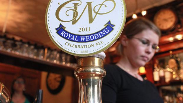 LONDON, ENGLAND - APRIL 21:  The badge for a limited edition Royal Wedding celebration ale brewed by Fuller's on April 21, 2011 in London, England. The ale will go on sale next week to be served in the run-up to the wedding of Prince William and Kate Middleton on April 29, 2011 in Westminster Abbey.  (Photo by Oli Scarff/Getty Images)