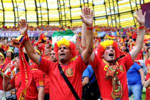GDANSK, POLAND - JUNE 10:  Spanish fans soak up the atmopshere ahead of the UEFA EURO 2012 group C match between Spain and Italy at The Municipal Stadium on June 10, 2012 in Gdansk, Poland.  (Photo by Jasper Juinen/Getty Images)