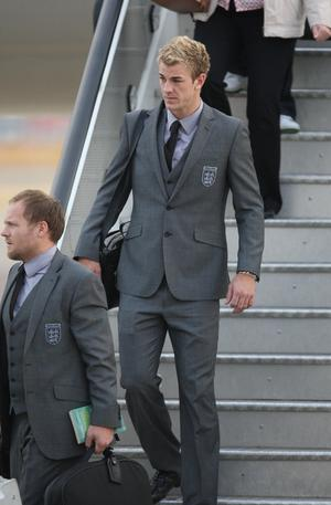 England's Joe Hart arrives at Heathrow Airport, London.  The England team returned to the UK after a 4-1 defeat to Germany in the Round of 16 match in Bloemfontein, South Africa on Sunday