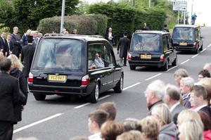 Funerals at Ballynahinch Baptist Church for Ulster rugby star Nevin Spence along with his brother Graham and father Noel