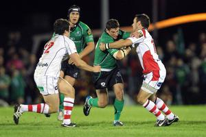 Magners League 25/9/2010Connacht vs UlsterConnacht's Keith Matthews tackled by Ian Whitten and Paddy Wallace of UlsterMandatory Credit ©PRESSEYE / INPHO/James Crombie
