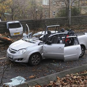 The scene in Aberford Road, Wakefield where a woman died after a tree fell onto the car she was travelling in