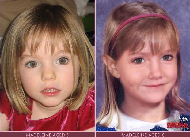 The dramatic difference between the known picture of Madeleine McCann, aged 3, and how she may look now, two years later
