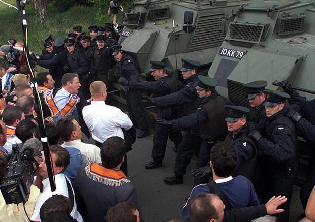 Tempers flare as Orangemen are blocked from walking the Garvaghy Rd, Drumcree, July 2000