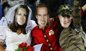 AUCKLAND, NEW ZEALAND - OCTOBER 01: England fans dressed as Catherine, Duchess of Cambridge, Prince William, Duke of Cambridge and Prince Harry pose during the IRB 2011 Rugby World Cup Pool B match between England and Scotland at Eden Park on October 1, 2011 in Auckland, New Zealand.  (Photo by David Rogers/Getty Images)