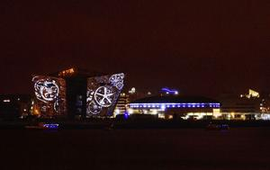 Belfast's iconic Titanic Building provides a backdrop for a 3D graphics and pyrotechnics light show set to music