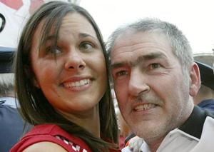 Tyrone manager Mickey Harte and his daughter Michaela after the All Ireland Football Final 28/9/2003