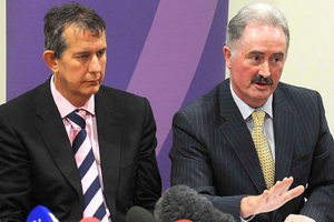 Colm Donaghy (right) with Health Minister Edwin Poots