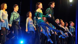 Riverdance performers dance in the Convention Centre Dublin on May 19, 2011 in Dublin, Ireland.
