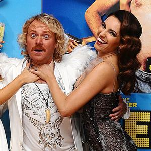 (left to right) Laura Aikman, Leigh Francis and Kelly Brook arriving for the UK Premiere of Keith Lemon : The Film, at the Vue West End, London.PRESS ASSOCIATION Photo. Picture date: Monday August 20, 2012. Photo credit should read: Ian West/PA Wire