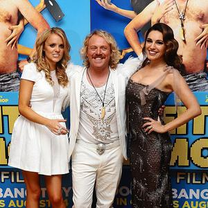 Laura Aikman, left, Leigh Francis and Kelly Brook arriving for the UK Premiere of Keith Lemon: The Film