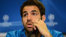 LONDON, ENGLAND - APRIL 17:  Cesc Fabregas of Barcelona attends a press conference ahead of their UEFA Champions League semi-final first leg match against Chelsea at Stamford Bridge on April 17, 2012 in London, England.  (Photo by Mike Hewitt/Getty Images)