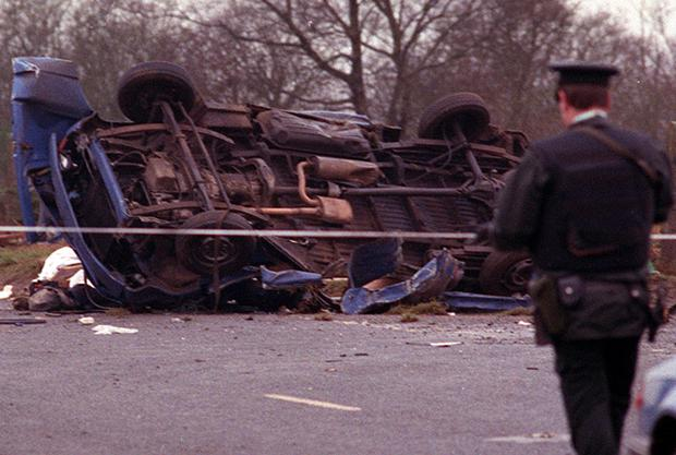Remains of the van in which 7 workmen were killed in an IRA landmine explosion in Teebane, Co.Tyrone. Pacemaker Press