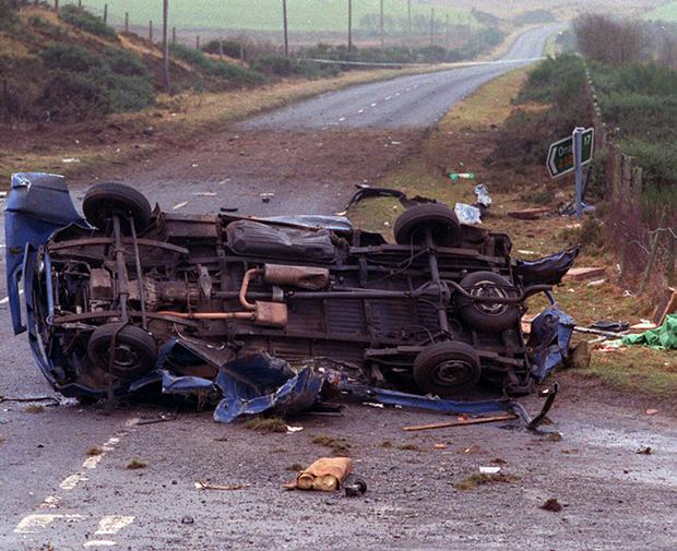 Remains of the van in which 7 workmen were killed in an IRA landmine explosion in Teebane, Co.Tyrone. 18/01/92. Pacemaker Press