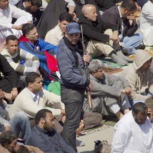 The scene during Friday prayers in the main square in Benghazi, eastern Libya (AP)