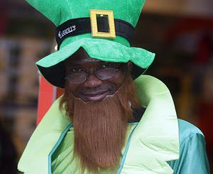 The St Patricks Day parades, Belfast 09. A visitor to Belfast's St Patricks Day parade enjoys the fun
