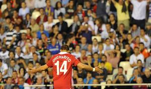 Manchester United's Javier Hernandez celebrates scoring during the the UEFA Champions League, Group C match at the Estadio Mestalla, Valencia, Spain