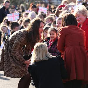 The Duchess of Cambridge speaks to well wishers at Rose Hill Primary School in Oxford