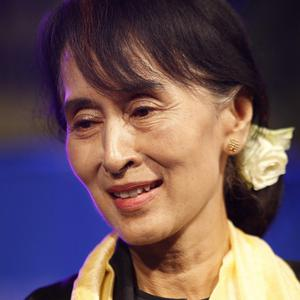 Burma's pro-democracy leader Aung San Suu Kyi after receiving the Freedom of the City of Dublin