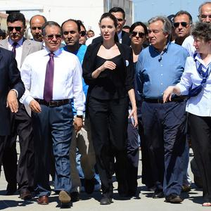 Hollywood star Angelina Jolie has been meeting Syrian refugees in Turkey