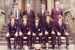 Methody Colts Four - 1975-76. Back row - Mr S E Lockwood, Mr F Jeffrey, Mr J Kincade, Mr T Casement. Front row - P Neill, W Hanna, S Topping, A Blaney, J McAdam - Submitted by  Alan Blaney