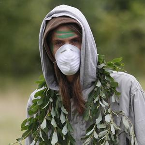 A protester at the Climate Camp near the Royal Bank of Scotland's headquarters in Edinburgh