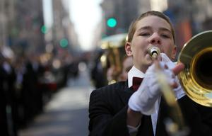 A band marches in the 249th annual St. Patrick's Day parade March 17, 2010 in New York City