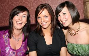 Joan McGuigan, Michelle Robinson and Ciara Parker enjoying the music in Mint, Cookstown.
