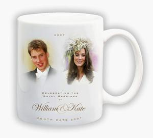 """UNDATED - UNITED KINGDOM: In this handout photograph provided by Woolworths, a souvenir mug is seen to mark the anticipated engagement of Prince William and his girlfriend Kate Middleton. Beneath the portraits of Prince William and Kate Middleton is the message ?Celebrating the Royal marriage of William and Kate,"""" with a space left for the date. The leading high street store has designed a range of memorabilia including traditional china plates, thimbles, mouse mats and Will and Kate shaped pick and mix sweets in anticipation of the event. (Photo by Woolworths via Getty Images)"""