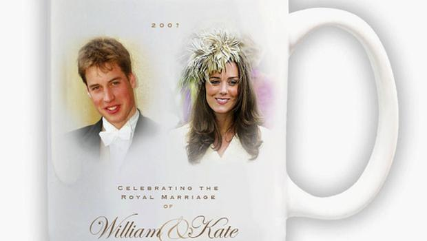 "UNDATED - UNITED KINGDOM: In this handout photograph provided by Woolworths, a souvenir mug is seen to mark the anticipated engagement of Prince William and his girlfriend Kate Middleton. Beneath the portraits of Prince William and Kate Middleton is the message ?Celebrating the Royal marriage of William and Kate,"" with a space left for the date. The leading high street store has designed a range of memorabilia including traditional china plates, thimbles, mouse mats and Will and Kate shaped pick and mix sweets in anticipation of the event. (Photo by Woolworths via Getty Images)"