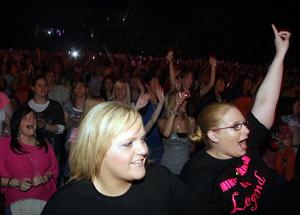 The crowd goes wild for Boyzone as they perform in the Odyssey Arena, Belfast.