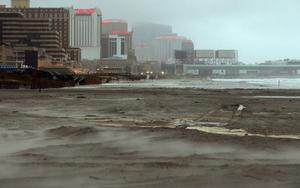 ATLANTIC CITY, NJ - OCTOBER 28:  Sand blows on the beach ahead of Hurricane Sandy on October 28, 2012 in Atlantic City, New Jersey.  Governor Chris ChristieÄôs emergency declaration is shutting down the cityÄôs casinos and 30,000 residents are being told to evacuate.   (Photo by Mario Tama/Getty Images)