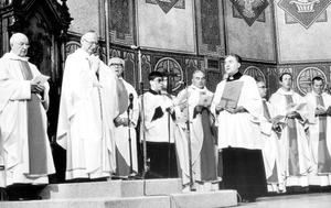The installation of Cahal Daly, St Peter's Cathedral, 1982