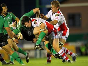 Magners League 25/9/2010Connacht vs UlsterUlster's Ian Whitten and Chris Henry tackle Gavin Duffy of ConnachtMandatory Credit ©PRESSEYE / INPHO/Billy Stickland