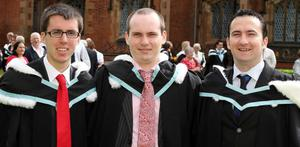 Graduations at Queen's University Belfast.  Left to right.  Stuart Irwin and Patrick McGinpsey both from Belfast and who graduated with a BA Hons in Modern History along with Patrick Kane from Dublin who graduated with a BA Hons in Ancient History.