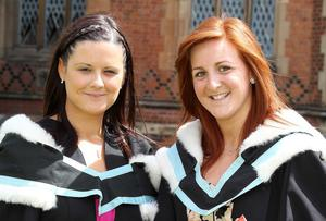 Graduations at Queen's University Belfast.  Left to right.  Adele McNiece from Ahogill and Catherine Martin from Ballymena who both graduated with a BA Hons in Sociology.