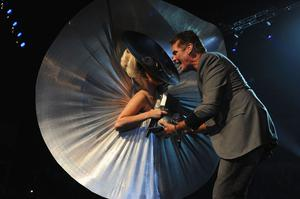BELFAST, NORTHERN IRELAND - NOVEMBER 06:  Singer Lady Gaga receives the award for Best Female from actor David Hasselhoff onstage during the MTV Europe Music Awards 2010 live show at at the Odyssey Arena on November 6, 2011 in Belfast, Northern Ireland.  (Photo by Dave Benett/Getty Images)