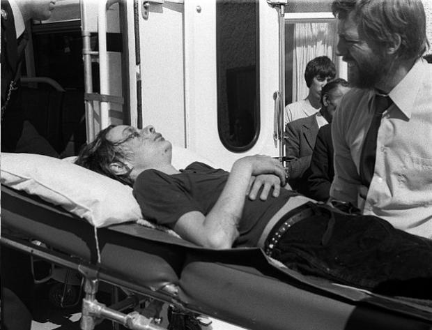 Timothy Knatchbull is taken into an ambulance after the IRA bomb attack in 1979 which killed his uncle Lord Mountbatten