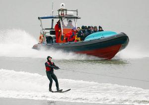 Christine Bleakley leaves Dover at the start of her challenge to water-ski across the English Channel for Sport Relief.