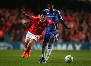 LONDON, ENGLAND - APRIL 04:  Mikel of Chelsea challenges Nelson Oliveira of Benfica during the UEFA Champions League Quarter Final second leg match between Chelsea and Benfica at Stamford Bridge on April 4, 2012 in London, England.  (Photo by Warren Little/Getty Images)