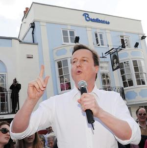Conservative leader David Cameron speaks  in Romsey Market Square, Hampshire