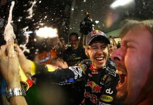 ABU DHABI, UNITED ARAB EMIRATES - NOVEMBER 14:  Sebastian Vettel of Germany and Red Bull Racing celebrates with his team after winning the driver's championship during the Abu Dhabi Formula One Grand Prix at the Yas Marina Circuit on November 14, 2010 in Abu Dhabi, United Arab Emirates.  (Photo by Vladimir Rys/Getty Images)