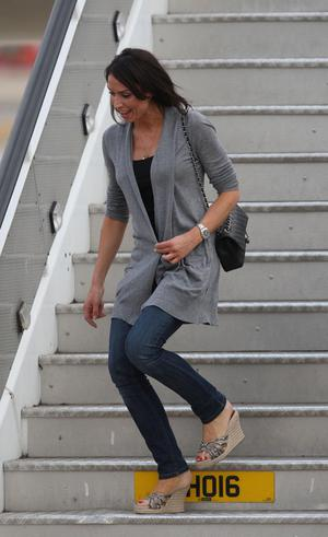 Frank Lampard's girlfriend Christine Bleakley arrives at Heathrow Airport, London. The England team returned to the UK after a 4-1 defeat to Germany in the Round of 16 match in Bloemfontein, South Africa on Sunday