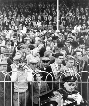 A section of the crowd at Covenant Day Jubilee celebrations at Balmoral Showgrounds. 2/10/1962